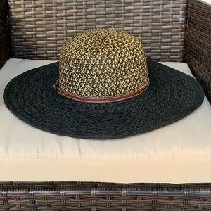 San Diego Hat Company Black & Tan Floppy Straw Hat